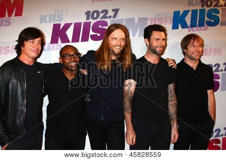 LOS ANGELES - MAY 11:  (L-R) Matt Flynn, PJ Morton, James Valentine, Adam Levine and Mickey Madden of Maroon 5 attend the 2013 Wango Tango concert at the Home Depot Center on May 11, 2013 in Carson,CA
