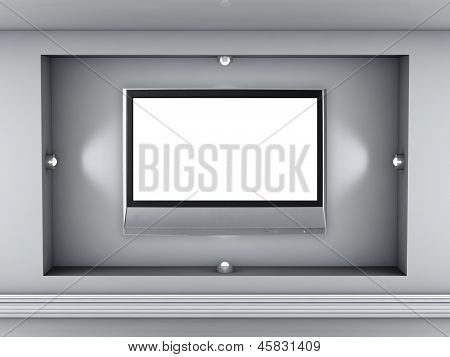 3D Empty Niche With Spotlights And Flat Tv For Exhibit In The Grey Interior