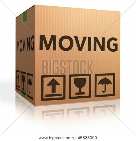 moving box cardboard brown package with text relocation icon poster