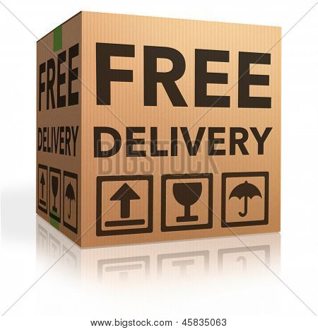 free delivery package from shipping online internet webshop cardboard box as webshop shopping icon parcel with text order shipment poster