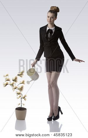 Smiling Business Woman Watering 50 Euro Money Plant