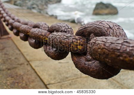 A section of rusty chain