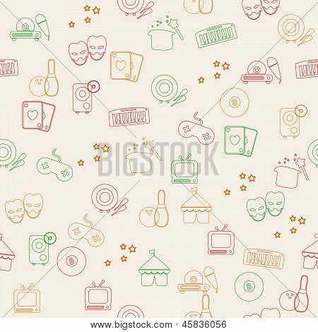 Seamless pattern with different icons