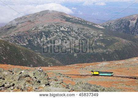 Mount Washington Cog Railroad to the peak in the White Mountains Coos County New Hampshire United States. poster