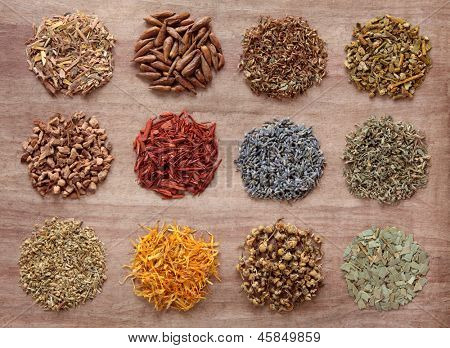 Medicinal herb selection also used in magical potions over papyrus background.