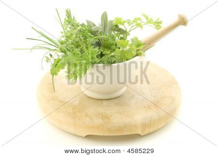 Herbs In Mortar With Pestle
