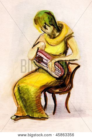 The Girl Playing A Psaltery