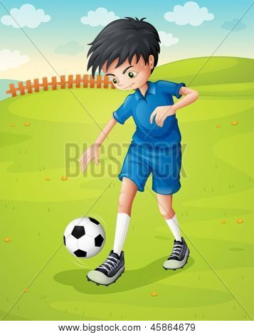 Illustration of a boy with a blue uniform practicing at the hillside