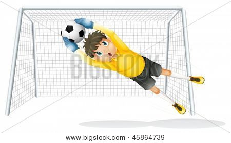 Illustration of a boy practicing to catch the soccer ball on a white background