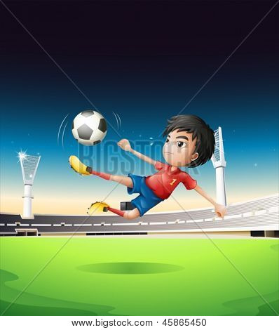 Illustration of a boy in a red uniform at the soccer field
