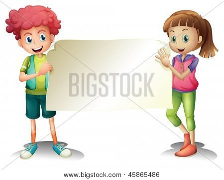 Illustration of the two kids holding an empty signage on a white background