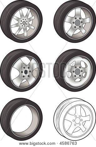 Car Tires - Vector Illustration
