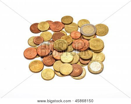 A Few Euros Coins, Isolated