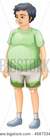Illustration of a fat man standing on a white background