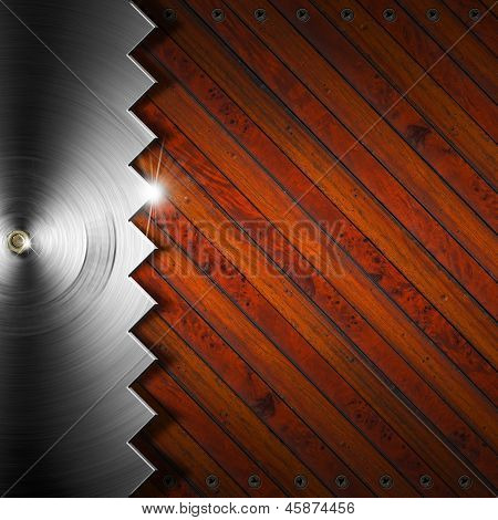 Wooden And Metallic Background - Concept Of Carpentry