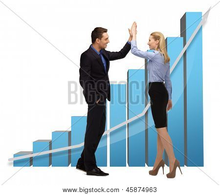 businessman and businesswoman with 3d graphics giving high five