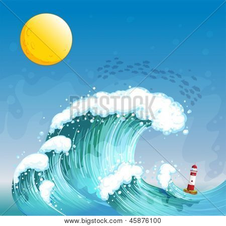 Illustration of a big wave with a tower