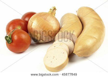 german sausage lyoner with iomatoes and bread on the white background poster
