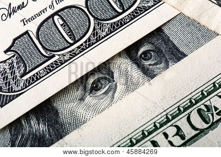 Benjamin looking at you. Closeup on money