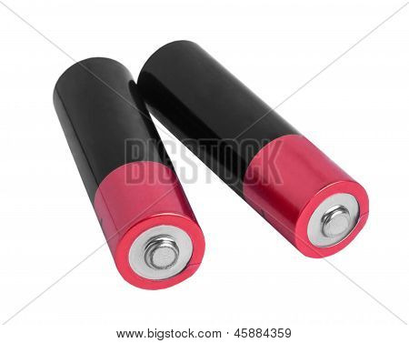 two pink battery (AA) isolated on white background (clipping path) poster