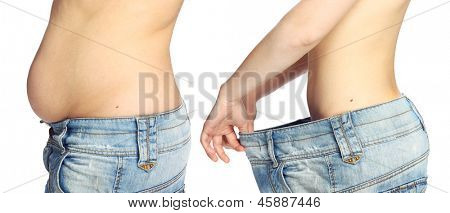 Woman belly isolated on white background from fat to thin. Diet concept.