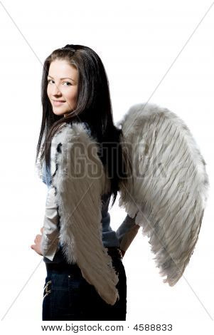 Pretty Angel Over White Background