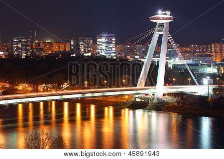 Bratislava cityspace at night - panorama from castle poster