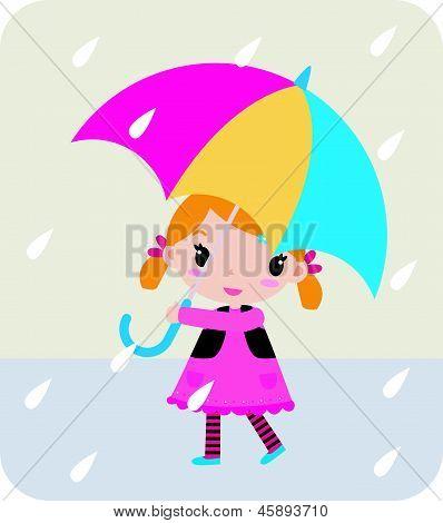 little girl and umbrella