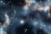 Digital created starfield with cosmic dark Nebula poster