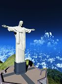 Famous statue of the Christ the Reedemer, in Rio de Janeiro, Brazil poster