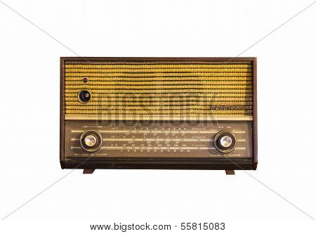 Old Vintage Radio On White