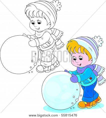Little boy or girl made a big snowball to make a snowman poster