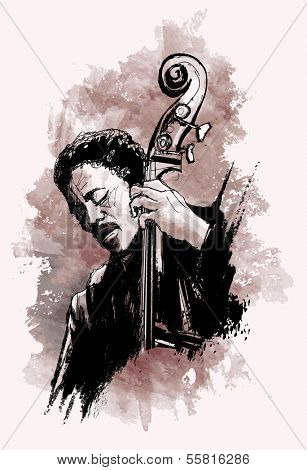 Vector illustration - double-bass player over grunge background