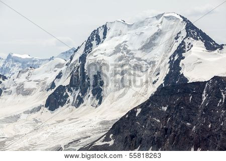 High mountain with glacier. Kyrgyzstan