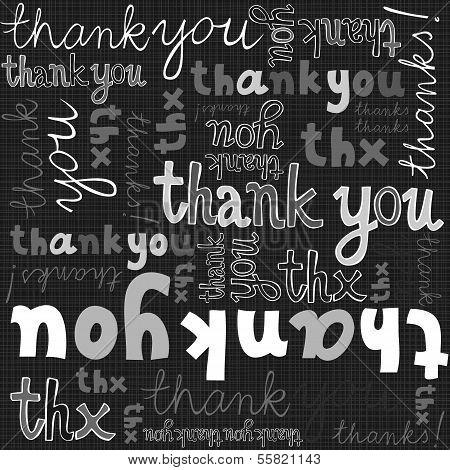 thank you gray black white hand written announce on dark graphic typographic seamless pattern