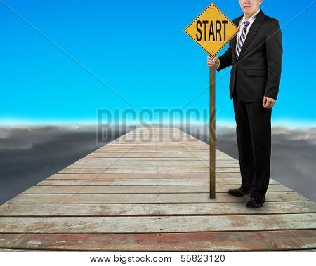 Businessman Hold Board With Word