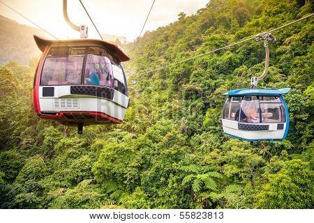 KUALA LUMPUR, MALAYSIA - JUNE 15: Cableway leading to Genting, June 15, 2013 in Kuala Lumpur, Malaysia. Genting is an important tourist attraction in Kuala Lumpur, Malaysia.