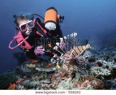 Female Diver And Lionfish