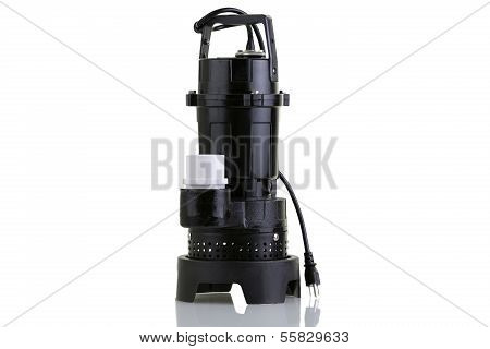 Brand new sump pump for suctioning collected ground water from a sump pit such as in a basement of a house poster