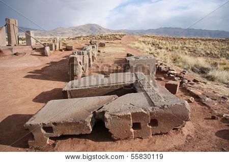 Ruins of Megalithic stone complex Puma Punku, Tiwanaku