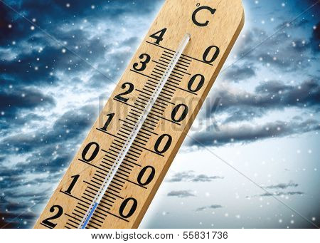 Thermometer Showing Cold Weather