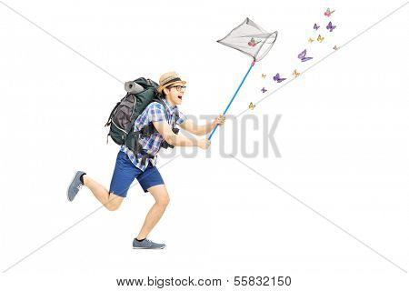 Full length portrait of a male tourist catching butterflies with net isolated on white background poster