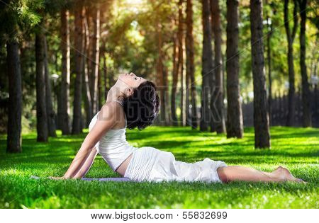 Yoga Cobra Pose In The Park