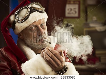 Portrait of a frowning Bad Santa smoking a joint poster