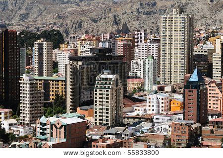 La Paz - the governmental capital of Bolivia. The city's building cling to the sides of the canyon and spill spectaculary downwards. The picture present view on the city. poster