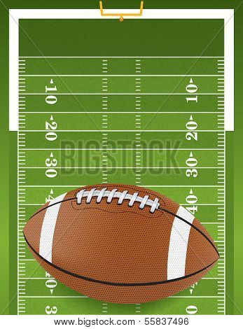 A football sitting on a grass textured football field. Vector EPS 10 poster
