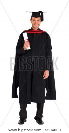 Happy Graduate With His Diploma