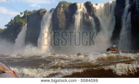 Getting close to the Iguazu Waterfall