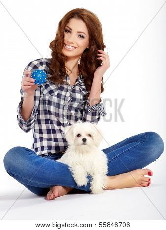 poster of beautiful girl with perfect skin and long wavy hair with a fluffy white dog on a white background