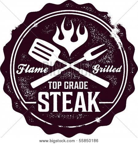 Vintage Grilled Steak Menu Stamp